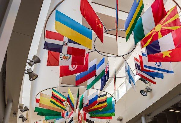 flags in atrium