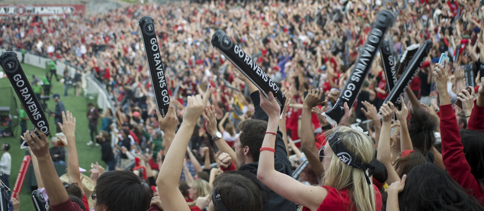 Students cheering at a Ravens Football game.