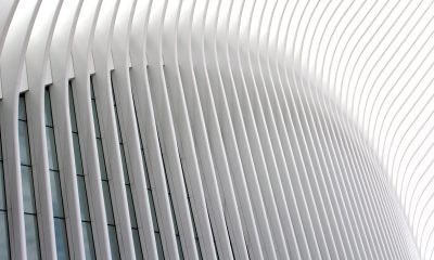 This is a picture of New York City's Oculus' exterior panels that create a trompe l'oeil.