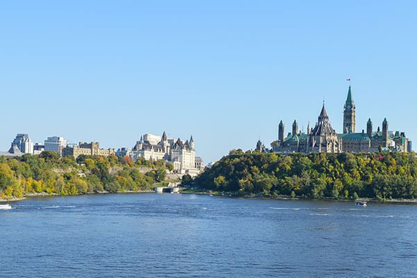 Downtown Ottawa from across the Rideau River.
