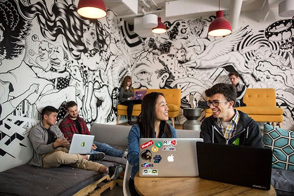 Computer Science students participate in the Industrial Applications Internship Option at Shopify's headquarters in downtown Ottawa.