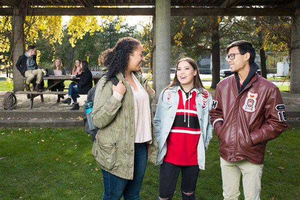 Students in Carleton's Alumni Park.