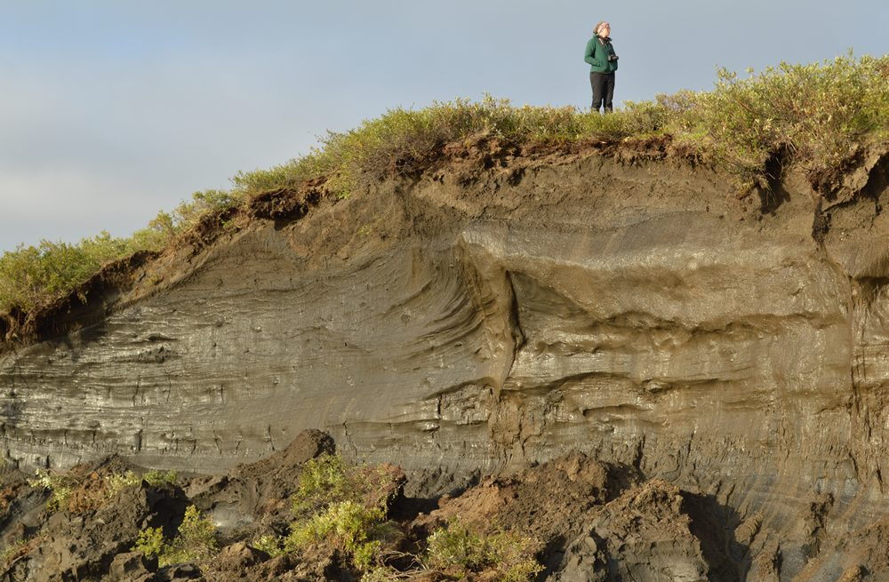Student stands atop a large hillside.
