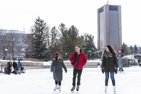 Students skate on the Rideau Canal
