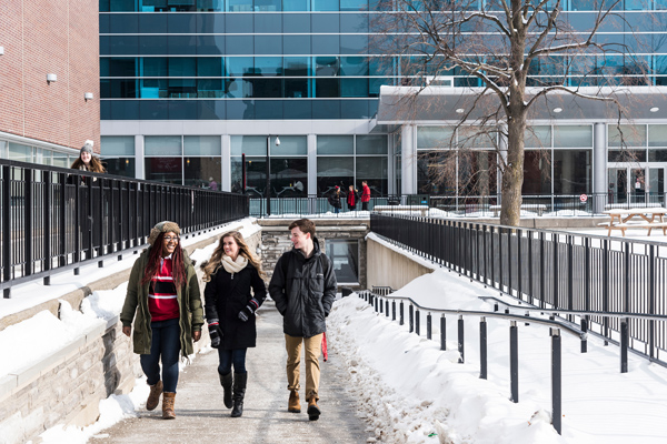 Students outside during the winter.